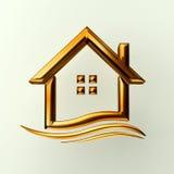 Gouden huis met golf Stock Afbeeldingen