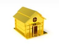 Gouden huis miniatuur gouden stuk speelgoed Stock Fotografie