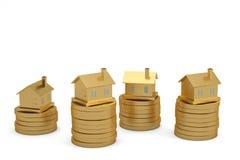 Gouden huizen op stapels muntstukken op witte 3D illustra als achtergrond royalty-vrije illustratie