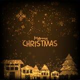 Gouden huizen voor Vrolijke Kerstmisviering Stock Foto