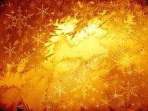 Gouden ijzig patroon. Sneeuwvlokken Royalty-vrije Stock Foto