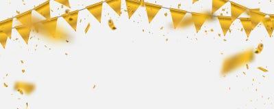 Gouden illustratieconfettien en vlaglinten, Vieringsachtergrond Stock Afbeeldingen