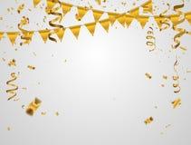 Gouden illustratieconfettien en vlaglinten, Vieringsachtergrond Stock Foto