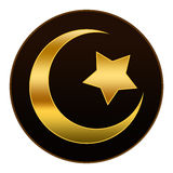 Gouden Islamsymbool op Donkere Bruine Achtergrond Royalty-vrije Stock Afbeeldingen