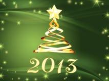 Gouden jaar 2013 en Kerstmisboom met sterren Stock Foto's