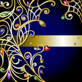 Gouden jewerly achtergrond met gemmen Royalty-vrije Stock Foto's