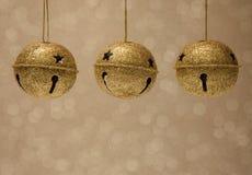 Gouden Jingle Bells stock foto