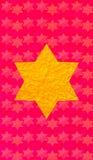 Gouden Jodenster rode achtergrond Verticaal formaat voor Slimme telefoon Royalty-vrije Stock Foto's