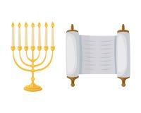 Gouden Jood menorah met van de de traditiedecoratie van de kaarsen Hebreeuwse godsdienst de vlam en de kandelaber hanukkah orthod royalty-vrije illustratie