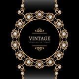 Gouden juwelen om kader Royalty-vrije Stock Afbeeldingen