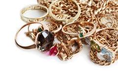 Gouden Juwelen op Wit Stock Fotografie