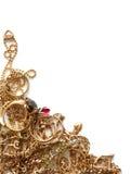 Gouden Juwelen op Wit Stock Afbeeldingen