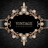 Gouden juwelenvignet Royalty-vrije Stock Afbeeldingen