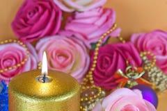 Gouden Kaars 01 Stock Afbeelding