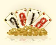 Gouden kaart van het casino de nieuwe 2018 jaar, vector Royalty-vrije Stock Foto