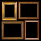 Gouden kader Elegante die wijnoogst op zwarte achtergrond wordt geïsoleerd Stock Foto's