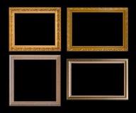 Gouden kader Elegante die wijnoogst op zwarte achtergrond wordt geïsoleerd Stock Afbeeldingen