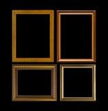 Gouden kader Elegante die wijnoogst op zwarte achtergrond wordt geïsoleerd Stock Afbeelding