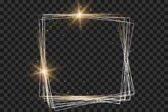 Gouden kader met lichteffecten, de Glanzende vectorillustratie van de luxebanner royalty-vrije illustratie