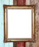 Gouden kader op houten muurachtergrond Royalty-vrije Stock Fotografie