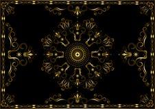 Gouden kader van patronen met verdraaide kalligrafiestrepen en kronen op zwarte achtergrond vector illustratie