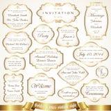 Gouden kaders met etiketten in retro stijl - vectorreeks Stock Foto