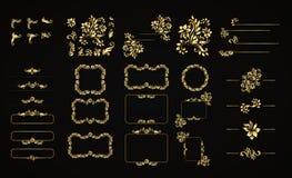 Gouden kalligrafische vectorontwerpelementen op de zwarte achtergrond Gouden menu en uitnodigingsgrens, kader, verdeler, pagina vector illustratie