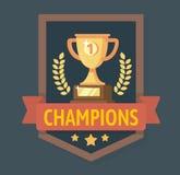 Gouden Kampioenenkop met lint Royalty-vrije Stock Afbeeldingen