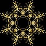 Gouden kantpatroon op een zwarte achtergrond Stock Foto