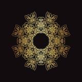 Gouden kantpatroon op een zwarte achtergrond Royalty-vrije Stock Foto