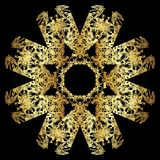 Gouden kantpatroon op een zwarte achtergrond Royalty-vrije Stock Afbeeldingen