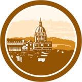 Gouden Kapelkoepel van de Houtdruk van Les Invalides Parijs Frankrijk Stock Afbeeldingen