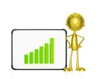 Gouden karakter met grafiek Stock Afbeeldingen