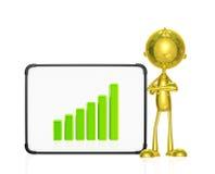 Gouden karakter met grafiek Stock Foto