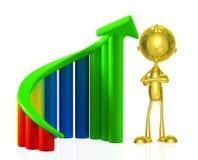 Gouden karakter met grafiek Stock Afbeelding