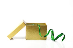 Gouden kartondoos Stock Foto