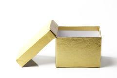 Gouden kartondoos Stock Afbeelding