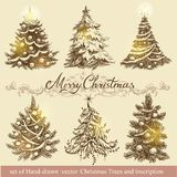 Gouden Kerstbomen Stock Foto's