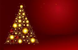 Gouden Kerstboom op rode achtergrond Stock Foto's