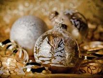 Gouden Kerstkaart Royalty-vrije Stock Foto's