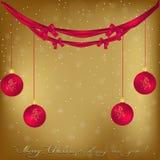 Gouden Kerstmis en Nieuwjaargroetkaart met sneeuwvlokken, boog Stock Afbeeldingen