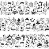 Gouden Kerstmis naadloos patroon met Kerstmisklokken, sneeuwvlokken, suikergoed, Vrolijke Kerstmis van de sterrenhulst heel en Ge vector illustratie