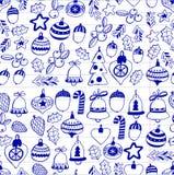 Gouden Kerstmis naadloos patroon met Kerstmisklokken, sneeuwvlokken, suikergoed, Vrolijke Kerstmis van de sterrenhulst heel en Ge stock illustratie
