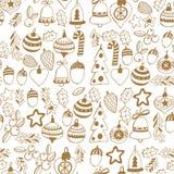 Gouden Kerstmis naadloos patroon met Kerstmisklokken, sneeuwvlokken, suikergoed, Vrolijke Kerstmis van de sterrenhulst heel en Ge royalty-vrije illustratie