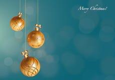 Gouden Kerstmis siert Kaart Royalty-vrije Stock Foto
