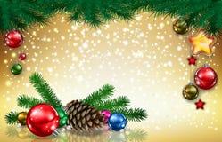 Gouden Kerstmisachtergrond royalty-vrije illustratie