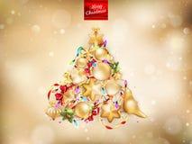 Gouden Kerstmisachtergrond Eps 10 Stock Foto