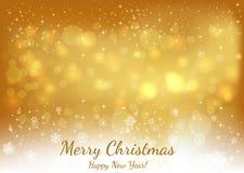 Gouden Kerstmisachtergrond met Tekst Vrolijke Kerstmis en Gelukkig royalty-vrije illustratie