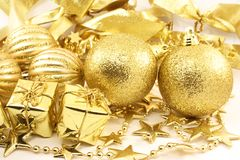 Gouden Kerstmisassortiment Stock Fotografie