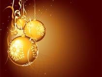 Gouden Kerstmisbal royalty-vrije illustratie